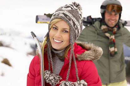 Skier smiling