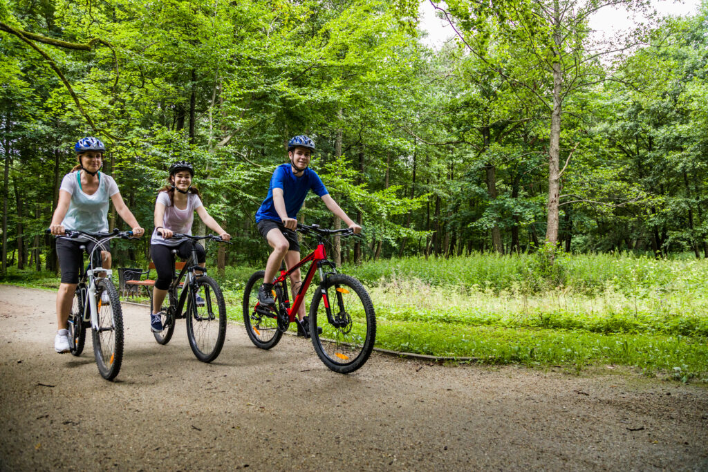 Family makes use of well groomed bike trails